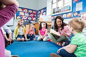 teacher with students in a circle learning about reading which allows them the best possible Christial preschool education and learning experience