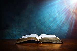a Bible that is being read during Lutheran church services